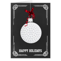 chalkboard golfer Christmas Cards