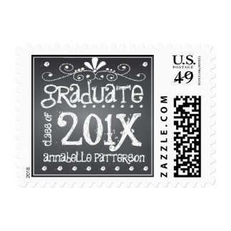Chalkboard Graduate Class of 201x Personalized Stamps