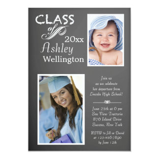 Chalkboard Graduate Photo Invitation