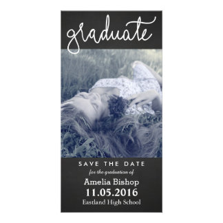 Chalkboard Graduate Typography Save The Date Card