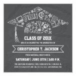 """Chalkboard Graduation Cap Invitation with Photo 5.25"""" Square Invitation Card"""