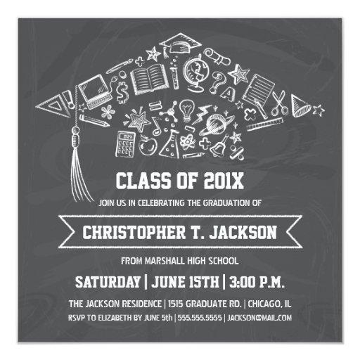 Chalkboard Graduation Cap Invitation with Photo