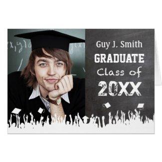 Chalkboard Graduation Invitation Your Photo Greeting Card