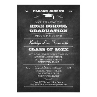 "Chalkboard Graduation Mortarboard Cap Party 5"" X 7"" Invitation Card"
