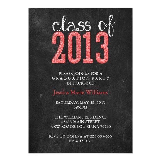 Chalkboard Graduation Party   Glitter Announcement