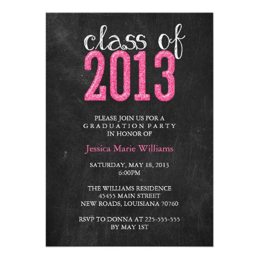 Chalkboard Graduation Party | Glitter Custom Invites