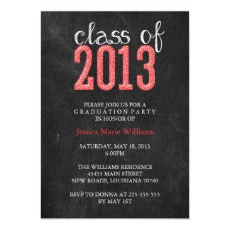 Chalkboard Graduation Party | Glitter 5x7 Paper Invitation Card