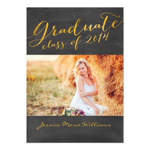 Chalkboard Graduation Party   Gold Foil Announcement