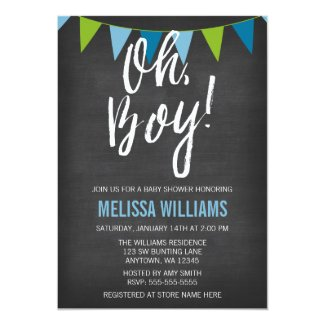 Chalkboard Green Blue Bunting Boy Baby Shower Card