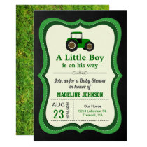 Chalkboard Green Farm Tractor Baby Shower Invitation