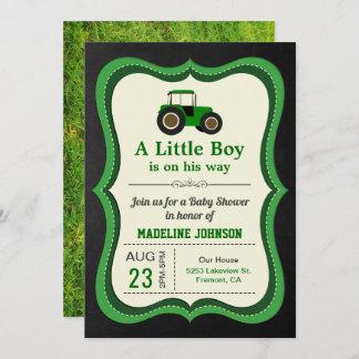 Chalkboard Green Farm Tractor Baby Shower Invitation
