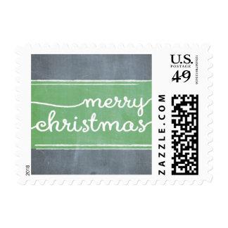 Chalkboard Green Line Script Postage Stamp