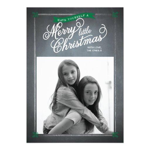 Chalkboard Green Mistletoe Holiday Photo Card