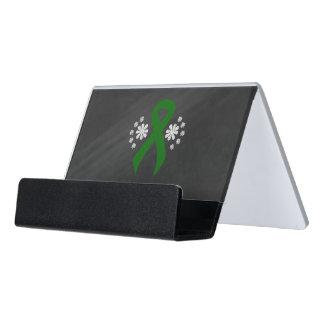 Chalkboard Green Ribbon Desk Business Card Holder
