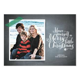 Chalkboard Green Washi Tape Script Holiday Card Custom Invites