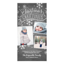 Chalkboard Greetings 3-Photo Snowflake Holiday Card