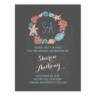 Beach Themed Chalkboard grey beach wedding save the date postcard