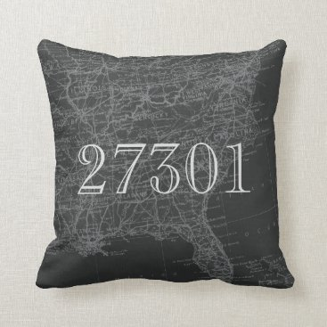 USA Themed Chalkboard Grey Eastern US Map Zip Code Pillow