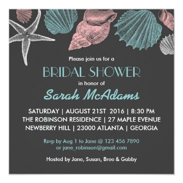 Beach Themed Chalkboard Grey Sea Shell Bridal Shower Invitation