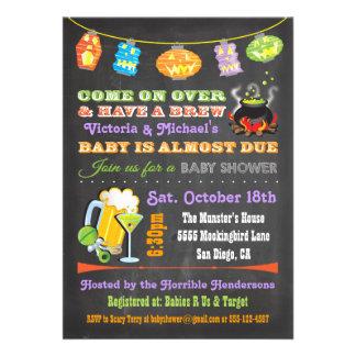 Chalkboard Halloween Baby Shower Invitations