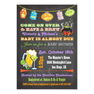 Chalkboard Halloween Baby Shower Invitations