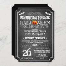Chalkboard Halloween Birthday Costume Party Invitation