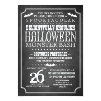 Chalkboard Halloween Costume Party 5x7 Paper Invitation Card