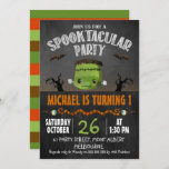 """Chalkboard Halloween Frankenstein Birthday Invitation<br><div class=""""desc"""">Chalkboard Halloween Frankenstein Birthday Invitation  Cute invitation for for an October birthday invitation featuring a cute Frankenstein head,  spooky trees,  bats and eye balls.  Sure to set the mood for a little boy's Halloween themed birthday party.</div>"""