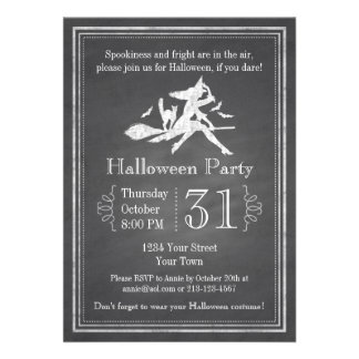 Chalkboard Halloween Witch Personalized Invitation