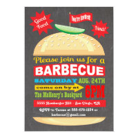 Chalkboard Hamburger Barbecue Party Invitation