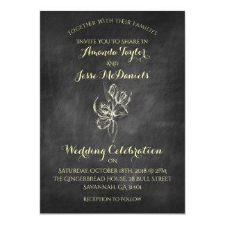 Chalkboard Hand Draw Tulip Wedding Invitations