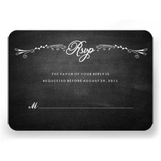 Chalkboard Hand-Drawn Foliage Response Card RSVP Invitations