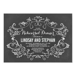 Chalkboard handwritten flourishes rehearsal dinner 5x7 paper invitation card