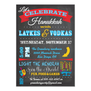 Chalkboard Hanukkah Latkes & Vodkas Invitations at Zazzle