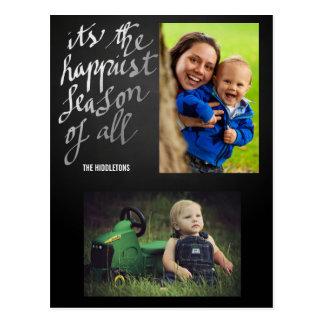 Chalkboard Happiest Season Of All Script Two Photo Postcard