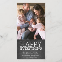 Chalkboard - Happy Everything One Vertical Photo Holiday Card