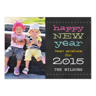 Chalkboard Happy New Year 2015 Holiday Photo Card