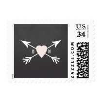 Chalkboard Heart   Arrow Wedding Postage