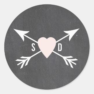 Chalkboard Heart + Arrow Wedding Stickers
