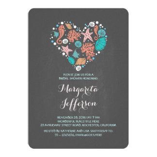 Chalkboard heart beach bridal shower invite