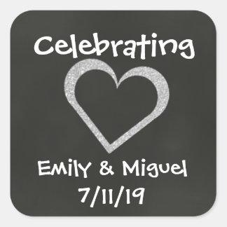 Chalkboard Heart Celebration Wedding Favor Sticker