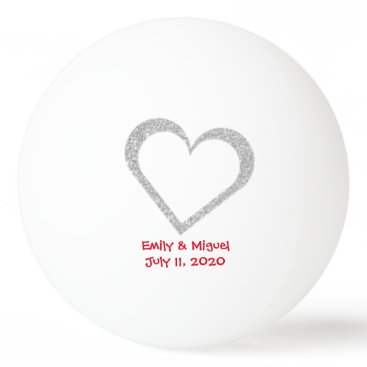 Valentines Themed Chalkboard Heart Wedding Favor Ping Pong Ball