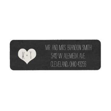 Valentines Themed Chalkboard Heart Wedding Labels