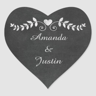 Chalkboard Heart Wedding Personalized Envelope Heart Sticker