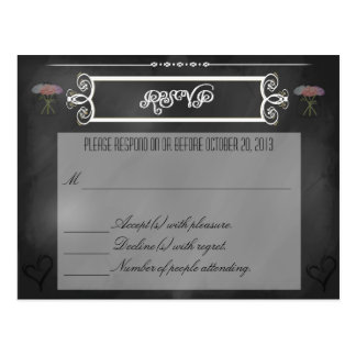 Chalkboard Hearts and Flowers RSVP Card