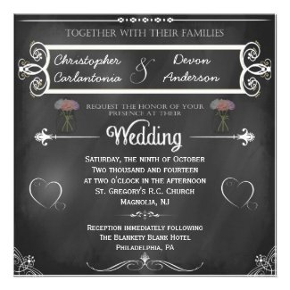 Chalkboard Hearts and Flowers Wedding Invitation
