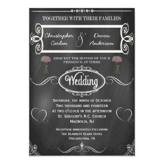 "Chalkboard Hearts and Flowers Wedding Invitation 5"" X 7"" Invitation Card"