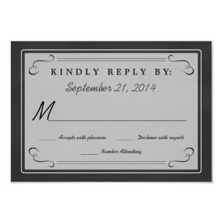 Chalkboard Hearts Monogram RSVP 3.5x5 Paper Invitation Card