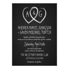Chalkboard Hearts Monogram Wedding invitation