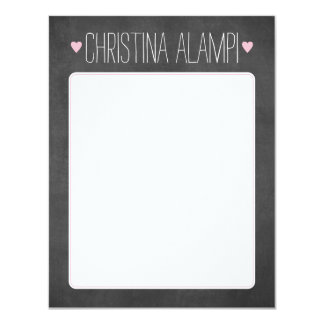 Chalkboard Hearts Personalized Stationery Card